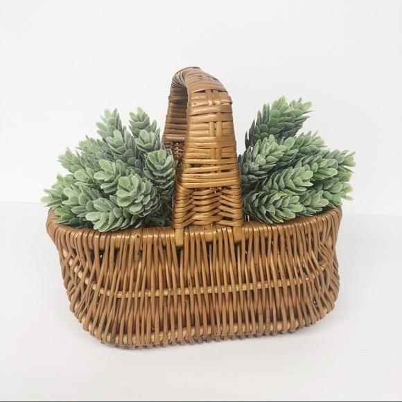 Vintage Wicker Display Handled Basket Home Decor